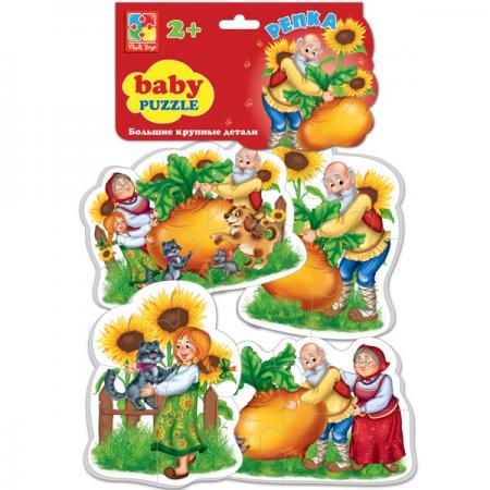 Мягкий пазл 16 элементов Vladi toys Baby puzzle Сказки Репка пазлы vladi toys пазлы мягкие baby puzzle сказки репка