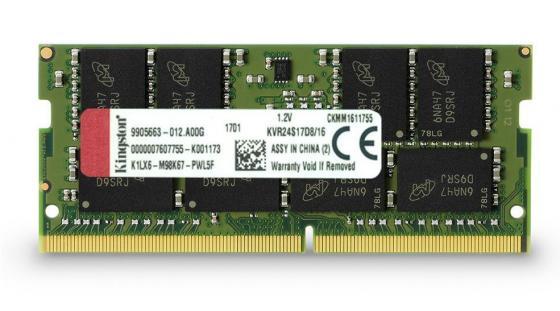 Оперативная память для ноутбуков SO-DDR4 16Gb PC19200 2400MHz Kingston KVR24S17D8/16 оперативная память для ноутбуков so ddr4 4gb pc19200 2400mhz qumo qum4s 4g2400c16