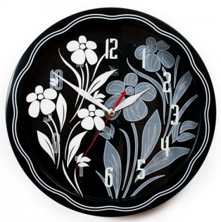 Часы настенные Вега П1-674/6-304 Черно-белые ромашки рисунок