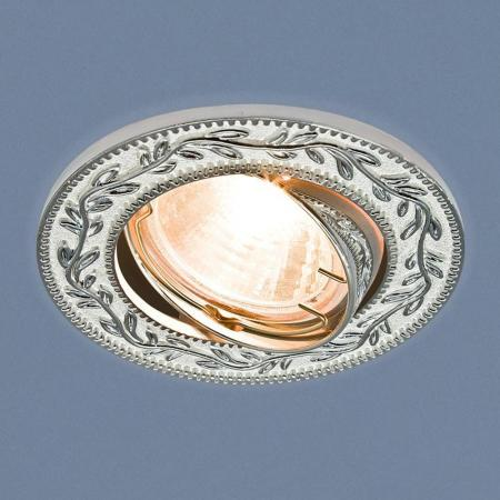 Фото - Встраиваемый светильник Elektrostandard 713 MR16 WH/SL белый/серебро 4690389060724 cветильник галогенный de fran встраиваемый 1х50вт mr16 ip20 зел античное золото