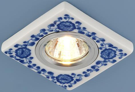 Встраиваемый светильник Elektrostandard 9034 керамика MR16 бело-голубой (WH/BL) 4690389018770 встраиваемый светильник elektrostandard 9034 керамика mr16 бело голубой wh bl 4690389018770