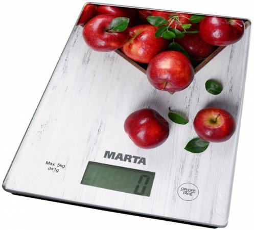 Весы кухонные Marta MT-1634 белый рисунок электроплитка tristar kp 6245 белый