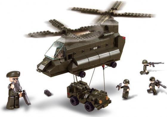 цены Конструктор SLUBAN Армия - Грузовой вертолет и джип 370 элементов M38-B6600