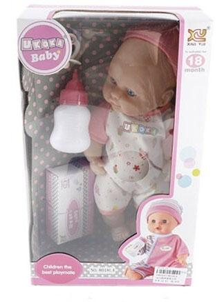 Кукла-младенец Shantou Gepai 8018L4 28 см плачущая смеющаяся говорящая бампер 09 13