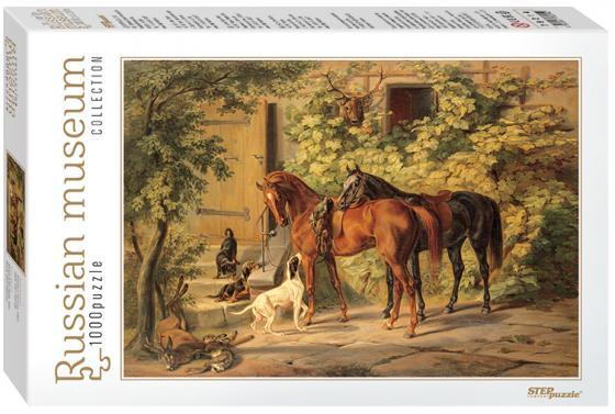 Пазл 1000 элементов Step Puzzle Лошади у крыльца  79214 puzzle 1000 найди 16 лошадей 79802