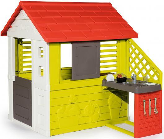 Домик игровой Smoby с кухней, красный 145*110*127см, 1/1 810702 домик игровой smoby с кухней красный 145 110 127см 1 1 810702