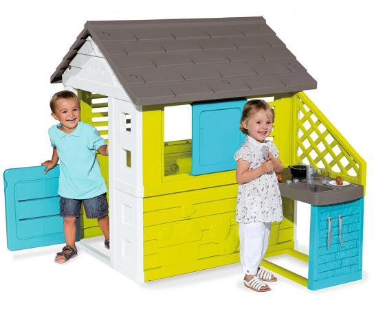 Игровой домик Smoby Домик с кухней синий 810703 домик игровой smoby с кухней красный 145 110 127см 1 1 810702