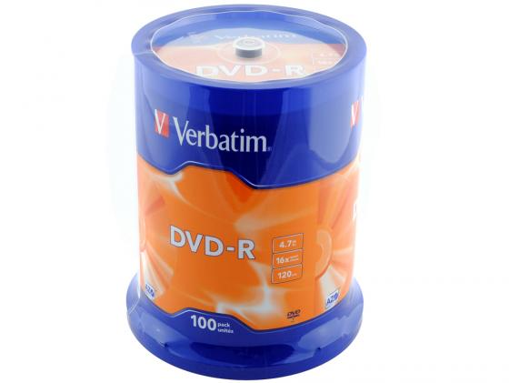 Диски DVD-R Verbatim 16x 4.7Gb CakeBox 100шт 43549 диски cd dvd sony dvd r 16x dvd dvd