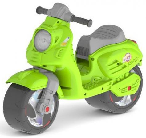 Каталка-мотоцикл двухколёсный RT Скутер зеленый ОР502