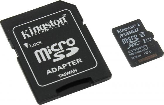 Карта памяти Micro SDXC 256Gb Class 10 Kingston SDC10G2/256GB + адаптер SD micro securedigital 128gb kingston sdxc class 10 sdc10g2 128gbsp