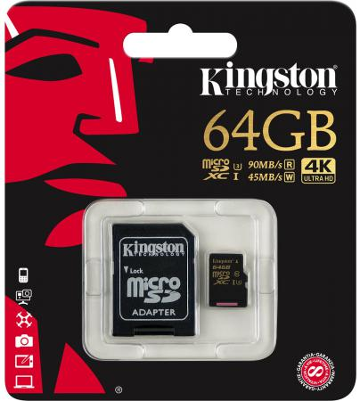 Карта памяти Micro SDXC 64GB Class 10 Kingston SDCG/64GB + адаптер SD карта памяти micro sdxc kingston sdca10 64gb