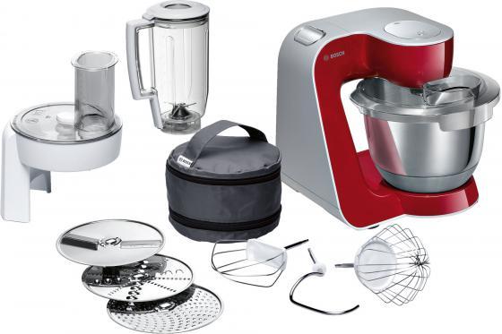 Кухонный комбайн Bosch MUM58720 серебристо-красный цена и фото