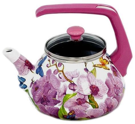 Фото - Чайник INTEROS Орхидея рисунок 2.2 л металл 15116 чайник interos 15157 аппетит 3 л металл белый рисунок