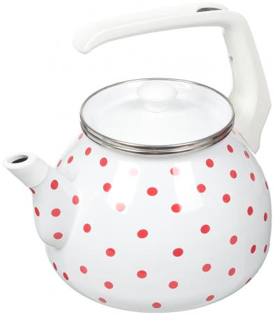 Фото - Чайник INTEROS Горошек белый 3 л металл 6009 чайник interos 15157 аппетит 3 л металл белый рисунок