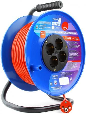 Удлинитель Power Cube PC-BG4-K-50 4 розетки 50 м оранжевый синий удлинитель power cube pcm 2 s mini серебристый 2 розетки 1 8 м