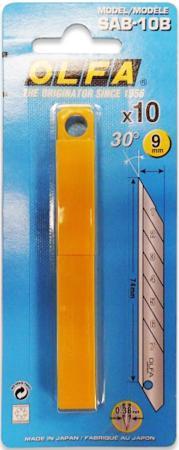 Лезвия Olfa сегментированное для графических работ 9х80х0.38мм 10шт OL-SAB-10B резак для пластика усиленный olfa ol pc l