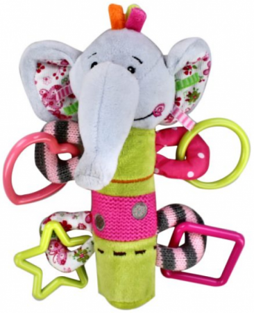 Пищалка с погремушками Жирафики Слонёнок Тим с 1 месяца пищалка разноцветный 93568 жирафики развивающая игрушка пищалка динозаврик 93920
