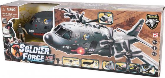 Игровой набор CHAP MEI Военно-транспортный самолет (3 фигуры, звук, свет) 521015 игровой набор chap mei мобильный ракетный комплекс 2 фигуры свет стреляет 521006