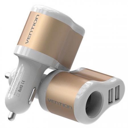 Автомобильное зарядное устройство Vention CJBW0 3.1А 2 х USB золотой автомобильное зарядное устройство buro tj 201b 2 х usb 4 8 а черный