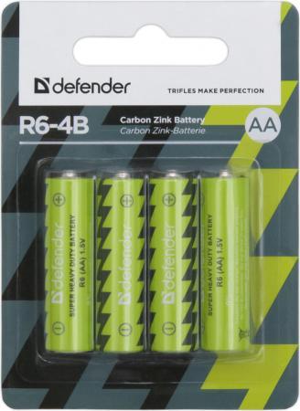 Батарейки Defender R6-4B AA 4 шт 56112 батарейки defender r6 4b aa 4 шт 56112