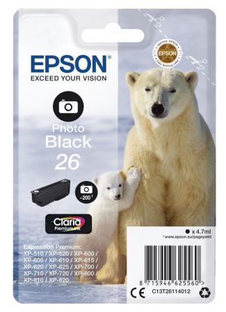 Фото - Картридж Epson C13T26114012 для Epson XP-600/605/700/710/800 фото черный 200стр картридж epson 26 черный фото для xp 600 xp 700 xp 800