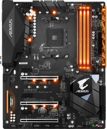 Материнская плата GigaByte GA-AX370-Gaming K5 Socket AM4 AMD X370 4xDDR4 3xPCI-E 16x 3xPCI-E 1x 8xSATAIII ATX Retail 100% new nh82801db bga chipset