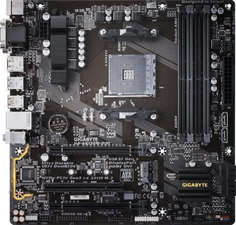 Материнская плата GigaByte GA-AB350M-D3H Socket AM4 AMD B350 4xDDR4 2xPCI-E 16x 1xPCI 6xSATAIII mATX Retail материнская плата gigabyte ga h81m s1 v2 2 socket 1150 h81 2xddr3 1xpci e 16x 2xpci e 1x 2xsata ii 2xsataiii matx retail
