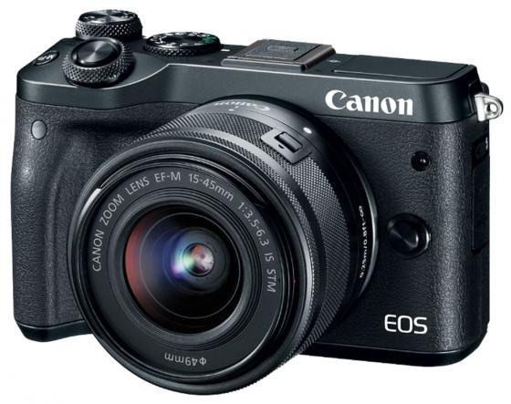 Фотоаппарат Canon EOS M6 24Mpix 3 1080p WiFi 15-45 IS STM f/ 3.5-6.3 LP-E17 черный 1724C012