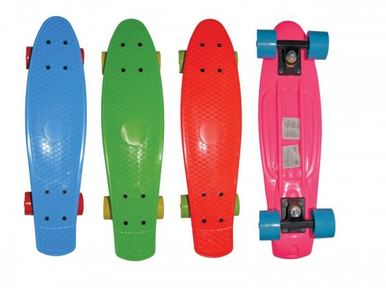 Скейт Navigator пласт.,кол.ПВХ 57х42мм без света, втулки ПВХ, пласт.траки, 56х15х9,5см, 4 цв. в ассорт красн.,син,роз,зелен. скейт navigator т59495