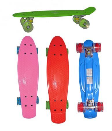 Скейт Navigator пласт.,кол.PU 57х44мм со светом, втулки ПВХ, алюм.траки,56х14,5х9,5см 4цв. в ассорт,красн,син,роз,зелен скейтборды r toys скейтборд classic yqhj 11 пластик со светящимися колесами 22