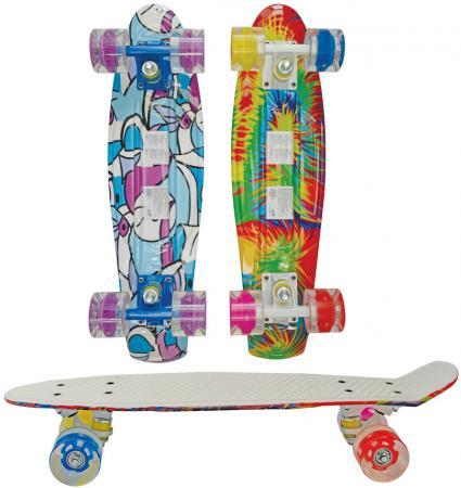 Скейт Navigator пласт с рисунком.,кол.PU 57х44мм со светом, втулки PU, крашен.алюм.траки,56х14,5х9,5см, 2 цв.в ассорт Т59501 скейт navigator т59495
