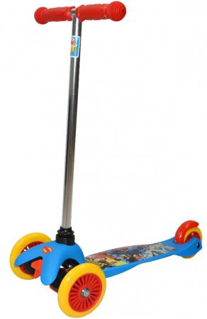Самокат трехколёсный 1TOY Супермэн (WB) упр.наклоном, PVC кол.пер.2х125мм/зад.100мм самокат navigator супермэн wb красно синий