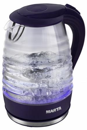 Чайник Marta MT-1084 2200 Вт темный топаз 2 л стекло чайник lumme lu 140 темный топаз 2200 вт 2 л стекло