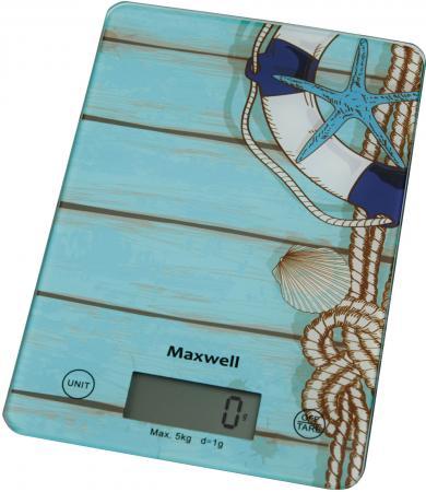 Весы кухонные Maxwell MW-1473 B голубой рисунок весы кухонные maxwell mw 1473 b голубой рисунок