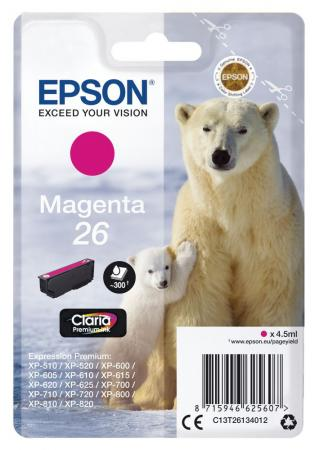 Картридж Epson C13T26134012 для Epson XP-70 пурпурный 300стр картридж epson t009402 для epson st photo 900 1270 1290 color 2 pack