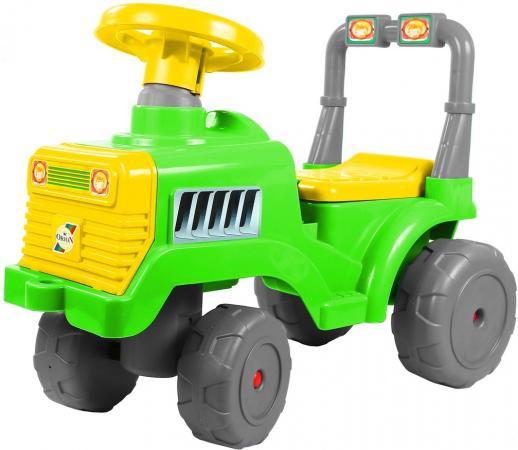 Каталка-трактор R-Toys ОР931к пластик от 10 месяцев на колесах зелено-желтый