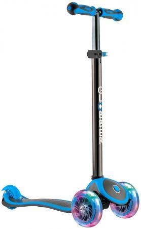 Самокат трехколёсный Y-SCOO Globber Primo Plus Titanium синий 442-130 с 3 светящимися колесами самокат 3 х колесный globber globber трехколесный самокат со светящимися колесами primo plus titanium neon bue