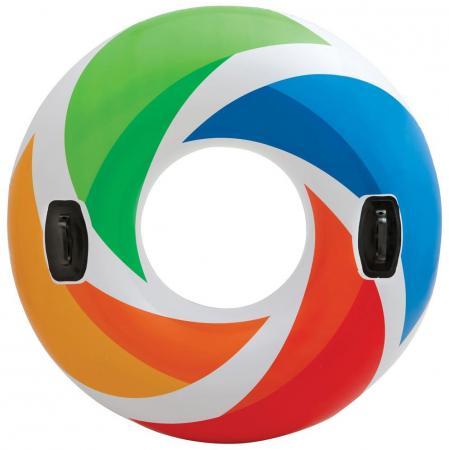 Надувной круг INTEX Цветной вихрь 58202 круг надувной intex hello kitty