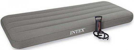 Надувной матрас-кровать INTEX с ручным насосом надувной матрас intex 66950 downy bed 76х191х22см со встроенным ножным насосом