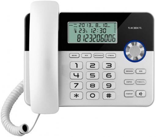 Телефон проводной Texet TX-259 серебристо-черный телефон проводной texet tx 212 серый