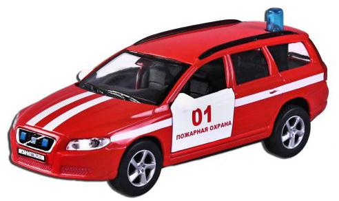 Машина Пламенный мотор Volvo V70 Пожарная охрана 13 см красный 870189 машина пламенный мотор 1 36 mitsubishi пожарная охрана свет звук откр двери 13см 870205