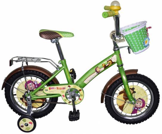 """Велосипед двухколёсный Navigator """"Маша и Медведь"""" 14"""" желто-зеленой  ВН14160К"""