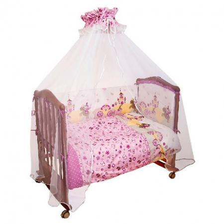 Бампер в кроватку Сонный Гномик Золушка (розовый) бортики в кроватку сонный гномик считалочка