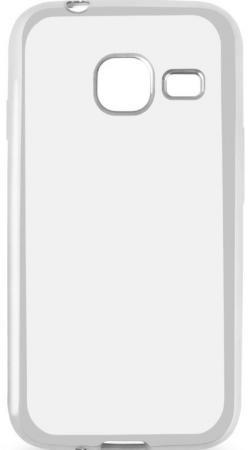 Чехол силиконовый DF sCase-26 с рамкой для Samsung Galaxy J1 mini 2016 серебристый