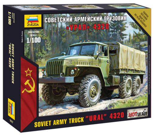 Грузовик Звезда Советский армейский грузовик - Урал 4320 1:100 хаки грузовик немецкий опель блиц 1 100