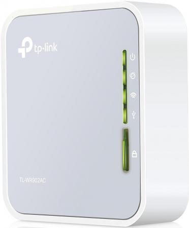 Беспроводной маршрутизатор TP-LINK TL-WR902AC 802.11acbgn 433Mbps 5 ГГц 2.4 ГГц 1xLAN USB RJ-45 белый беспроводной маршрутизатор tp link tl wr942n 802 11bgn 450mbps 2 4 ггц 4xlan usb черный