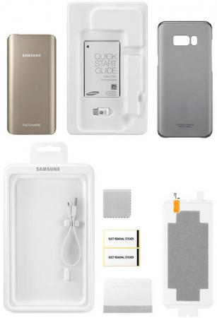 Портативное зарядное устройство Samsung EB-WG95ABBRGRU для Samsung Galaxy S8 + защитная пленка + чехол + кабель + переходник casio оригинальные наручные часы casio eqb 500dc 1a мужские
