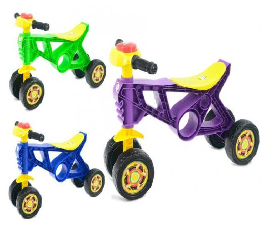 Каталка-мотоцикл Orion Беговел 4 пластик на колесах цвет в ассортименте