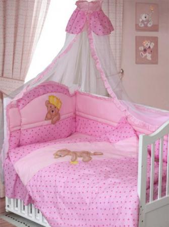 Комплект в кроватку Золотой Гусь Мишка-Царь (розовый) комплект в кроватку золотой гусь мишка царь бежевый