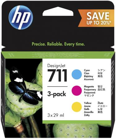 Картридж HP 711 P2V32A для HP DJ T120/T520 цветной спот velante 711 107 05